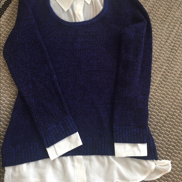 Womens Blue Sweater With Built In Collar Shirt